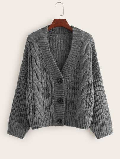 Cable Knit Button Through Cardigan