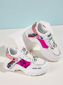 Holographic Detail Leopard Print Chunky Sneakers