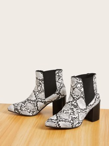 Point Toe Snakeskin Chelsea Boots
