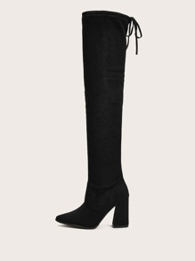 Point Toe Side Zip Chunky Tall Boots