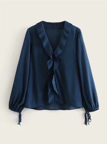 Pleated Ruffle Trim Chiffon Blouse