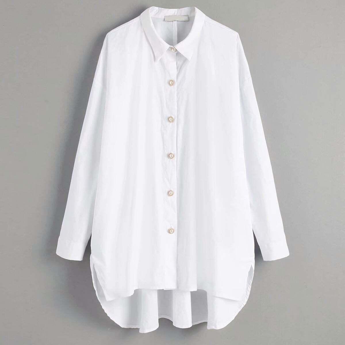 Асимметричная рубашка с пуговицами жемчугов