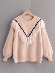 Drop Shoulder Lace Panel Ruffle Jumper