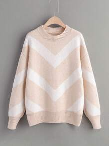 Drop Shoulder Chevron Print Jumper