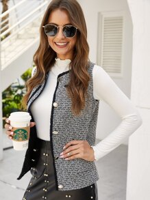 Contrast Trim Tweed Vest Coat