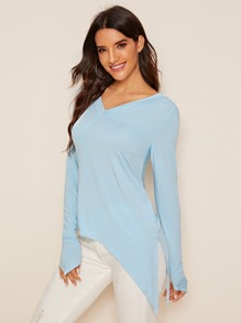 Double V-neck Asymmetrical Hem Tee