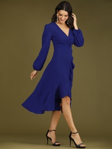Solid Bishop Sleeve Flounce Hem Wrap Dress