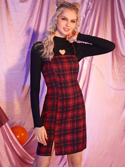 Slit Hem Tartan Plaid Pinafore Dress