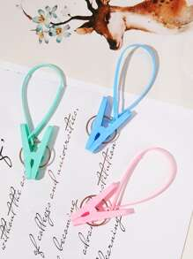 Random Color Plastic Strap Locking Clothespin 4pcs