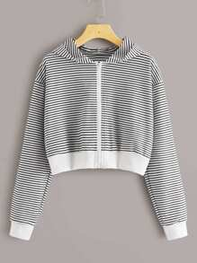 Zip Up Striped Hooded Sweatshirt
