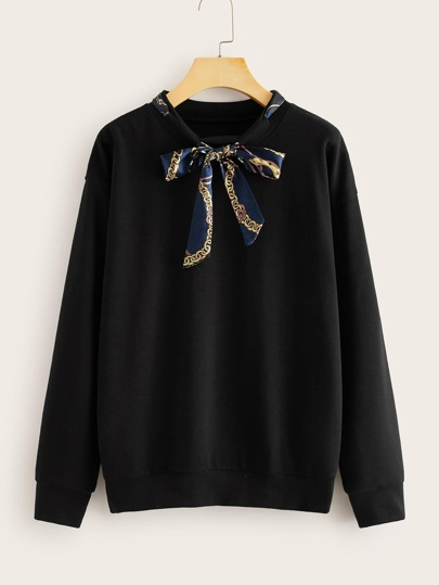 Chain Print Tie Neck Drop Shoulder Sweatshirt
