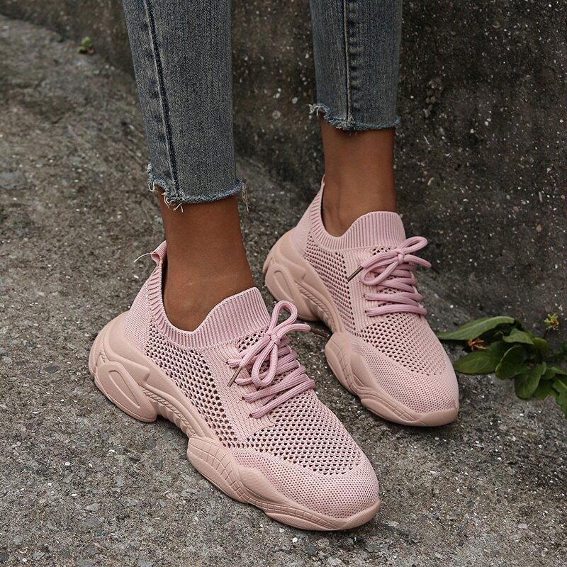 Розовый Одноцветный Удобный Кеды