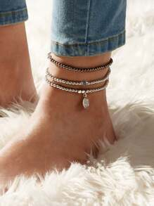 Disc Charm Beaded Anklet 3pcs