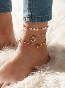 Heart & Disc Decor Chain Anklet 3pcs