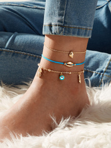Eye & Pineapple Charm Chain Anklet 3pcs