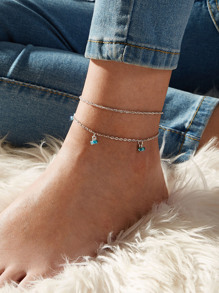 Rhinestone Decor Charm Chain Anklet 2pcs