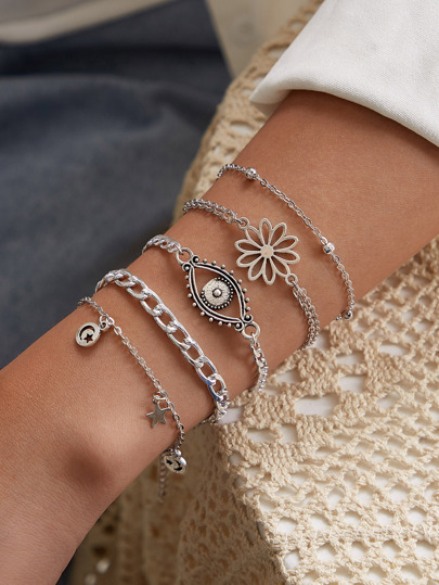 Flower & Eye Decor Chain Bracelet 5pcs