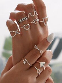 Heart & Geometric Decor Ring 10pcs