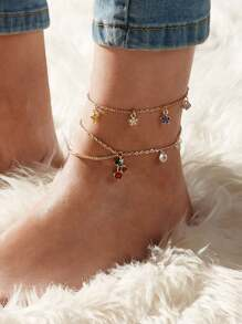 Rhinestone Engraved Cherry & Star Decor Chain Anklet 2pcs