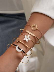Flower & Moon Decor Bracelet 5pcs