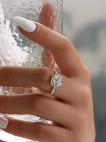 Rhinestone Decor Ring 1pc