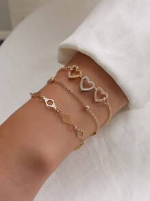 Heart & Geometric Decor Chain Bracelet 3pcs
