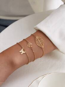Butterfly & Leaf Decor Chain Bracelet 3pcs