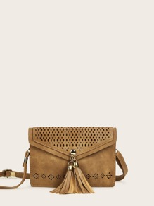Tassel Decor Hollow Out Crossbody Bag