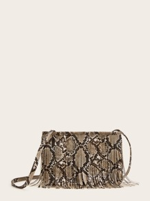 Fringe Decor Snakeskin Print Crossbody Bag