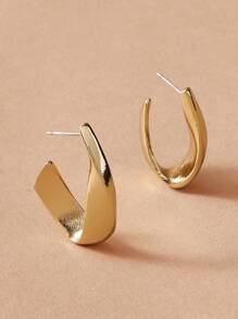 Twist U Shaped Cuff Hoop Earrings 1pair