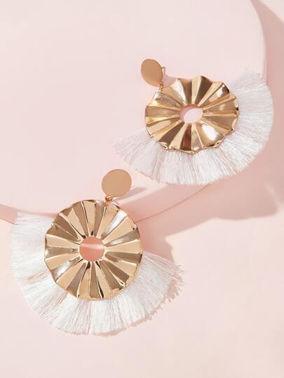 Textured Round Fan Fringe Drop Earrings 1pair
