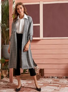 Plaid Split Side Belted Trench Coat