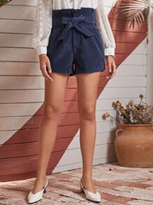 Corduroy Paperbag Waist Belted Shorts