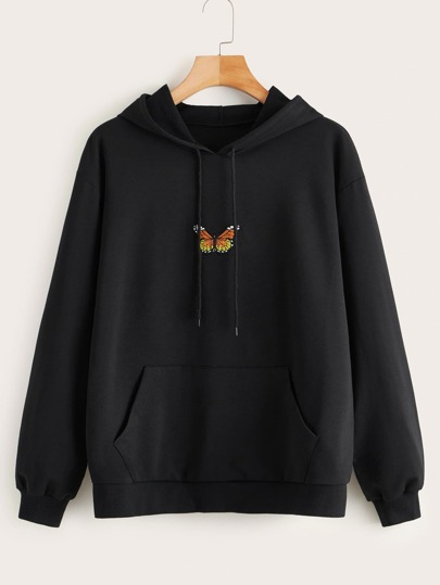 Plus Butterfly Embroidered Kangaroo Pocket Hoodie