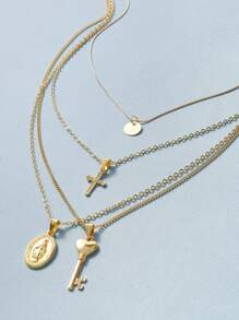 Coin & Cross Charm Layered Necklace 1pc