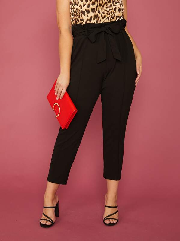Shein Plus Solid Paperbag Waist Pants by Sheinside