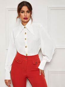 Spearpoint Collar Button Front Bishop Sleeve Blouse
