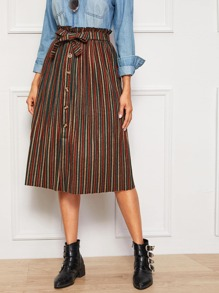 Button Front Colorful Striped Belted Paperbag Skirt