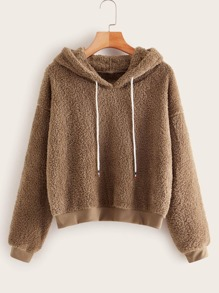 Shearling Drawstring Drop Shoulder Teddy Hoodie