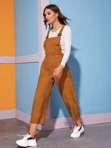 Solid Dual Pocket Pinafore Jumpsuit