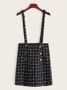 Plaid Button Front Pinafore Tweed Skirt