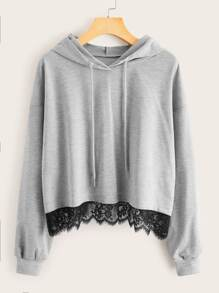 Contrast Lace Drawstring Hooded Sweatshirt