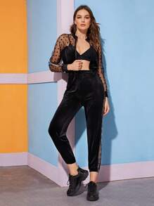 Contrast Sheer Mesh Polka Dot Jacket & Velvet Pants