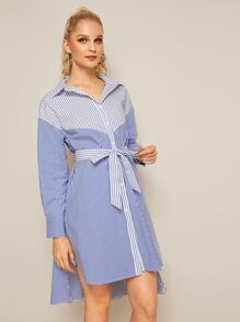Two Tone Vertical Stripe Belted Shirt Dress