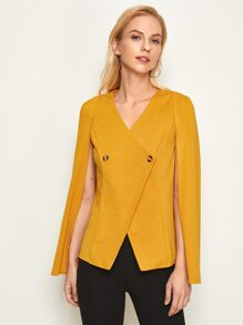 Double Button Cloak Sleeve Blazer