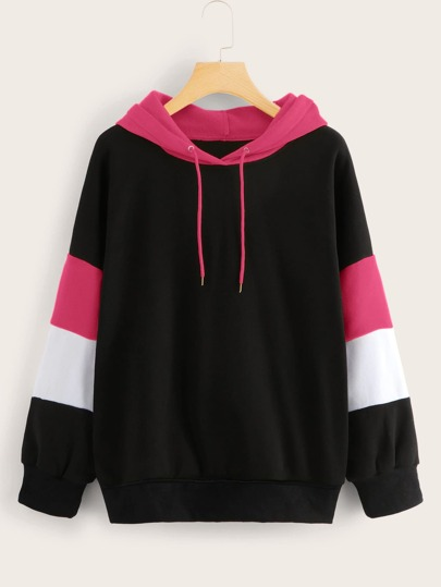 Drop Shoulder Contrast Panel Drawstring Hoodie