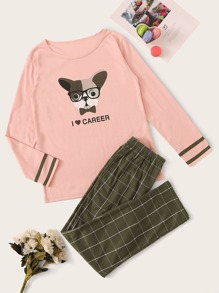 Dog & Letter Print Plaid Pajama Set