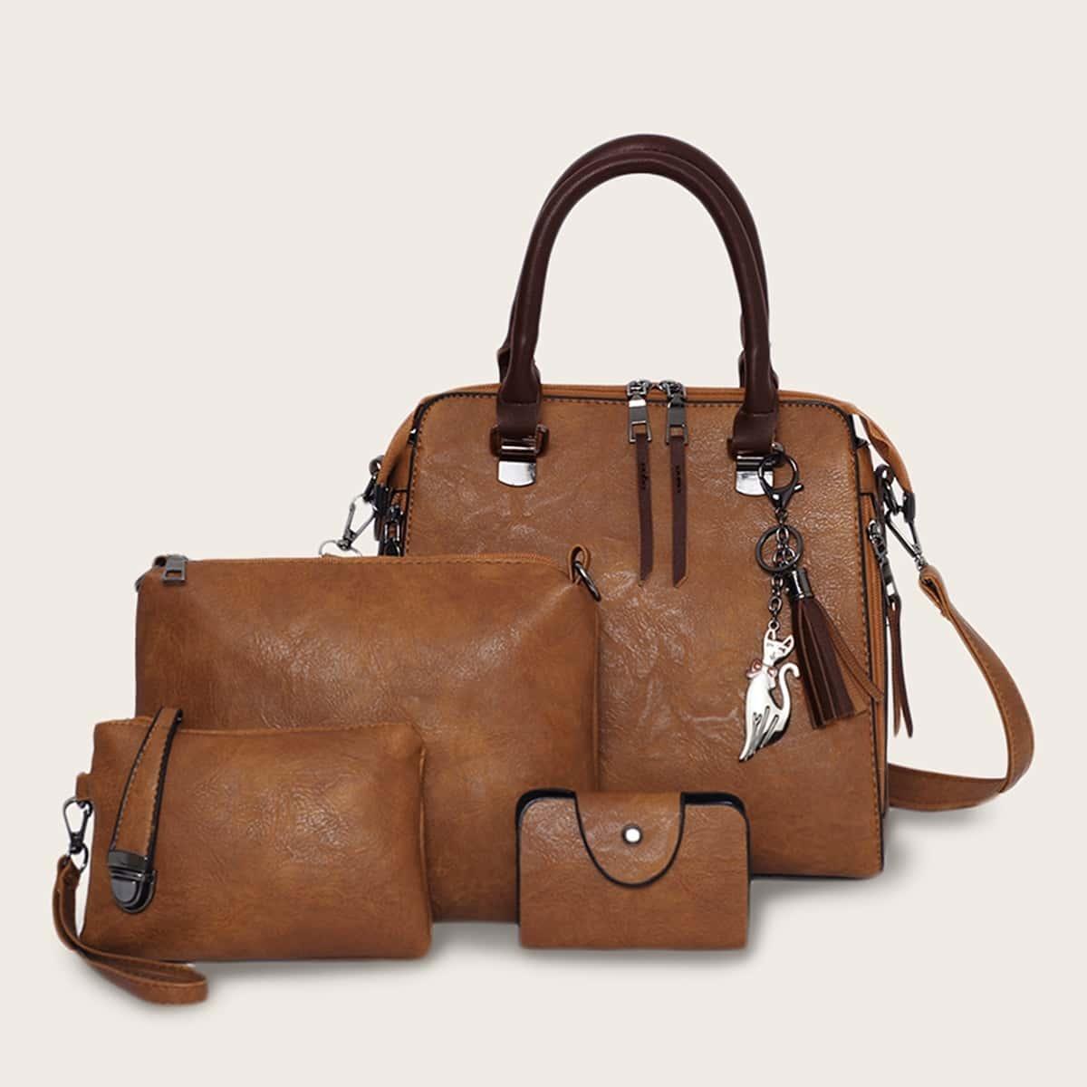 коричный кисточка Деловый стиль  Набор сумок