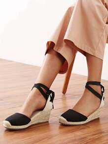 Cap Toe Tie Back Espadrille Wedges