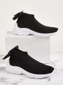Bow Decor Back Slip On Chunky Sneakers